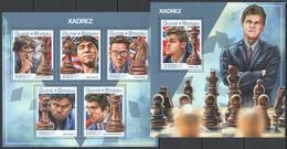 UU936 2017 GUINEA-BISSAU SPORT CHESS HISTORY XADREZ WORLD CHAMPIONS KB+BL MNH - Chess