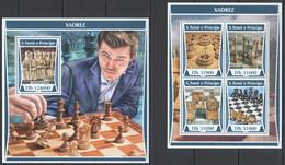 VV184 2017 SAO TOME & PRINCIPE SPORT CHESS HISTORY XADREZ CARLSEN KB+BL MNH - Chess