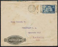 "Uruguay - Affr. 5 Cents Seul Sur Enveloppe De Montevideo Pour Habana (Cuba) Flamme ""1830 Cienamos De Patria"" 12 Ago 1930 - Uruguay"