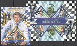 WW291 2013 TOGO TOGOLAISE SPORT CHESS 70TH ANNIVERSARY BOBBY FISCHER KB+BL MNH - Chess