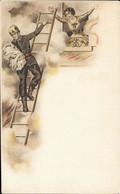 Menu Fin XIXe Lithographié, Vierge - UN POMPIER Sur Son ECHELLE Sauve Un BEBE De L'INCENDIE - Menus