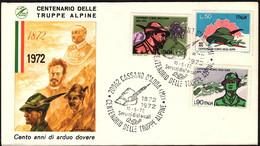 1972 Italia, Centenario Truppe Alpine Alpini, Annullo Speciale, Serie Completa - 6. 1946-.. Republic