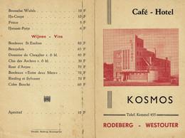 Oude Prijslijst Kosmos Café Hotel Rodeberg Westouter Drukkerij Bafcop Reningelst - Documenti Storici