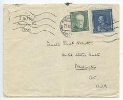 Czechoslovakia 1933 Cover Karlsbad To Washington DC Senator Fred Walcott Of CT - Czechoslovakia