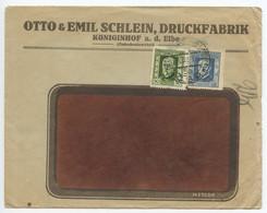 Czechoslovakia 1925 Cover Dvůr Králové Nad Labem / Königinhof An Der Elbe, Scott 96 & 99 - Czechoslovakia