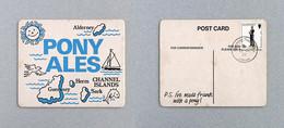 Sous-bock Bière Pony Ales Guernsey Brewery Timbre Poste 1977 Beer Mat Coaster Bierdeckel - Non Classificati