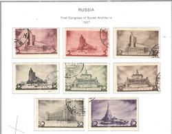 Russia 1937 First Congresso Architetti Sovietici   Scott 597/604+On Scott. Album 1918/1950; - Usados
