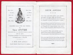 -- SOUVENIR MORTUAIRE De SOEUR ANTIDE RELIGIEUSE De La MISERICORDE De SEES / Née En 1873 Décédée à VIRE 1929 - Andachtsbilder