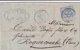 TYPE SAGE Sur LETTRE - Oblitération Paris Départ Le 16/11/1876 Pour Roquecourbe - 1877-1920: Semi-moderne Periode