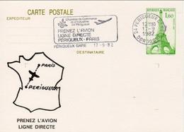 CP : Prenez L'avion Ligne Directe Périgueux-Paris (Périgueux-gare, 24-Dordogne-Périgord) Du 17-09-1982 Sur YT 429-CP1 - Overprinter Postcards (before 1995)