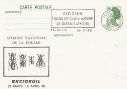CP Repiquée : Semaine De La Fourmi (Excideuil, 24-Dordogne-Périgord) Du 26-03-1986 Sur YT 2375-CP1 - Overprinter Postcards (before 1995)