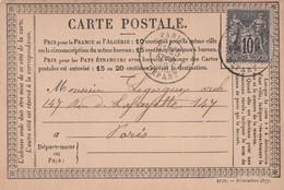 TYPE SAGE Sur CARTE POSTALE - Oblitération Paris Départ Le 25/02/1878 Pour Paris - 1877-1920: Semi-moderne Periode