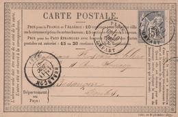 TYPE SAGE Sur CARTE POSTALE - Oblitération Paris Départ Le 10/12/1877 Pour Besançon - 1877-1920: Semi-moderne Periode