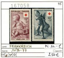 Frankreich - France - Francia -  Michel 1076-1077 - ** Mnh Neuf Postfris - Rotes Kreuz - Croix Rouge - Red Cross - - Nuovi