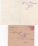 LA FERTE BERNARD GEORGES GUET SALON DE COIFFURE PARFUMERIE PLACE VOLTAIRE LETTRE ET ENVELOPPE AVEC CACHET ANNEE 1930 - Francia
