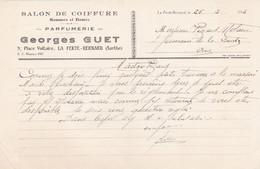 LA FERTE BERNARD GEORGES GUET SALON DE COIFFURE PARFUMERIE PLACE VOLTAIRE ANNEE 1932 - Francia
