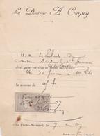 LA FERTE BERNARD A COUPEY DOCTEUR FICHE CARTONNE DE SOINS AVEC TIMBRE FISCAL ANNEE 1907 - Francia
