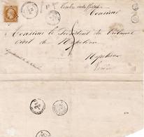 LSC La Romagne Maine-et-Loire 1856 Pour Napoléon-Vendée Insuffisamment Affranchie Et Réutilisation En Retour - 1849-1876: Classic Period