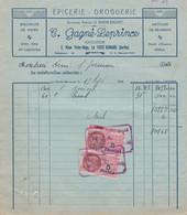 LA FERTE BERNARD GAGNE LEPRINCE EPICERIE DROGUERIE CAFES VINS LIQUEURS ARTICLES DE DESSERT AVEC TIMBRE FISCAL ANNEE 1946 - Francia