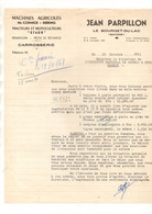 """Courrier Commercial Jean Parpillon Machines Agricoles Mc Cormick - Deering Tracteurs Et Motoculteurs """"Staub"""" En 1951 - Agricoltura"""