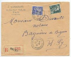 France 1945 Registered Cover Pau To Bagnères-de-Bigorre, Scott 387 Iris & 536 Marianne - Storia Postale