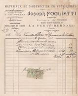 LA FERTE BERNARD FOGLIETTI MONUMENT FUNERAIRES CAVEAUX CHEMINEES EN MARBRE AVEC TIMBRE FISCAL ANNEE 1921 - Francia