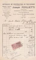 LA FERTE BERNARD FOGLIETTI MONUMENT FUNERAIRES CAVEAUX CHEMINEES EN MARBRE AVEC TIMBRE FISCAL ANNEE 1925 - Francia