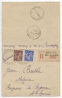 France 1945 Registered Letter Card Bordeaux-Saint-Augustin To Bagnères-de-Bigorre, Scott 384 & 387 - Storia Postale