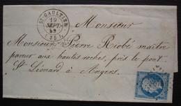 St-Gaultier Indre 1859 Pc 3073 Sur N°14, Pour Angers, Lettre Sans Correspondance - 1849-1876: Periodo Classico