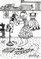 Illustration Illustrateur Bourdillon Jacqueline Chat Chats Série Professions Liberales Couturiere  CPM - Andere Illustrators