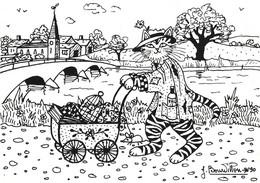Illustration Illustrateur Bourdillon Jacqueline Chat Chats Série Professions Liberales Clochard  CPM - Andere Illustrators