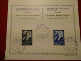 BELGIQUE 1937  1er Jour Fondation Musicale Reine Elisabeth - ....-1951