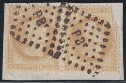 EMPIRE - N°28A PAIRE 1 DEFECTUEUX - LOSANGE AMBULANT - BPt  - FRAGMENT DE LETTRE. - 1849-1876: Classic Period