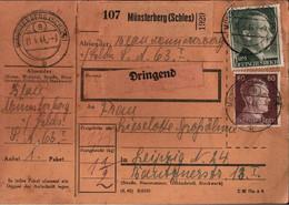 ! 1944 Münsterberg In Schlesien, Stempel Mit Postgebietsleitzahl 8 Nach Leipzig, Paketkarte, Deutsches Reich, 3. Reich - Brieven En Documenten