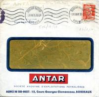 BORDEAUX BASTIDE GIRONDE 21 XII 1951 Flamme Muette Krag Sur 12F Gandon Publicité ANTAR Huile Pétrole - Annullamenti Meccanici (pubblicitari)