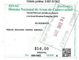 Ticket D'entrée Au PARQUE NACIONAL MANUEL ANTONIO Costa Rica  2015. - Toegangskaarten