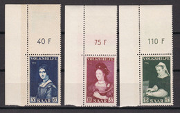 Saarland - 1956 - Michel Nr. 376/378 P OR Ecke - Postfrisch - Ongebruikt