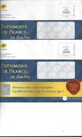2 ENVELOPPES PRÊT à POSTER - MONDE 250 G - Patrimoine De France En Timbres 2020 - PAP : Altri (1995-...)