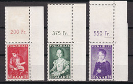 Saarland - 1954 - Volkshilfe - Michel Nr. 354/356 P OR Ecke - Postfrisch - Ongebruikt