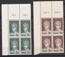 Saarland - 1956 - Michel Nr. 371/372 P OR Ecke Viererblock - Postfrisch - Ongebruikt