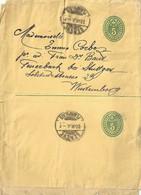 Doppel Streifband 18  Genève Plainpalais - Feuerbach Bei Stuttgart         1901 - Interi Postali