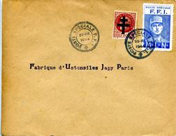 Poste FFI  Paris POSTE SPECIALE FFI 20 VIII 1944 Vignette Général DE Gaulle + Pétain Surchargé Croix De Lorraine - WW II