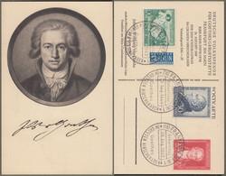 """Amerikanische + Britische Zone: Sonderkarte Mit Mi-Nr. 108-10 SST, """" 200. Geburtstag Johann Wolfgang Von Goethe """" !   X - Zona Anglo-Americana"""