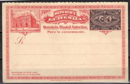 Guatemala Entier Postal 3 Centavos Servicio Postal Interior - Guatemala