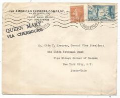 N° 336+235 LETTRE MECANIQUE PARIS ST LAZARE PAQUEBOTS 16.VI.1937 POUR USA + GRIFFE QUEEN MARY VIA CHERBOURG - Correo Marítimo