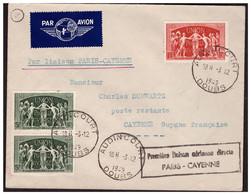 1 Ere Liaison Aérienne Directe PARIS CAYENNE Le 3.12.49. - 1927-1959 Briefe & Dokumente