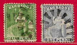 Barbade N°32 0,5p & 33 1p 1875 O - Barbados (...-1966)