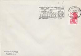 1 ER JOUR FLAMME 15 ANS DES JUMELAGES PTT D'AQUITAINE à MERIGNAC 1984 - Mechanical Postmarks (Advertisement)