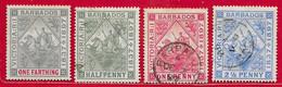 Barbade N°60 à/to 63 ( Filigrane CC, Dentelé 14) 1897 O & (*) - Barbados (...-1966)