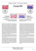 """"""" EUROPA 1990 : BATIMENTS POSTAUX.. """" Sur Document A4 1er Jour D'Andorre De 1990 N° YT 388 389 Parfait état FDC - Europa-CEPT"""